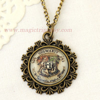 Harry Potter Necklace- Harry Potter Jewelry- Hogwarts Crest necklace, slytherin necklace, gryffindor necklace, DA necklace