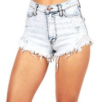 Vibrant Women's Juniors Acid Wash High Waist Cutoff Shorts, L, Acid Wash Light Denim