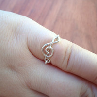 Treble Clef Ring, Silver Filled, 18 Gauge