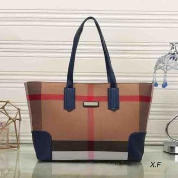 One-nice™ Fashion Zip Burberry Women Shopping Leather Handbag Tote Satchel Shoulder Bag H-MYJSY-BB
