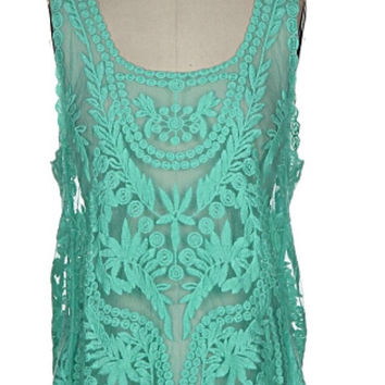 Lace Tank Top - Mint