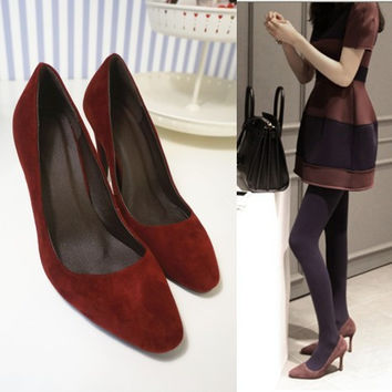Korean Square Toe High Heel Leather Shoes [4920406404]