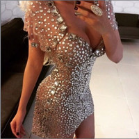 Dazzling Luxury Full Crystal Beading Top Quality Sweetheart Champagne Mini Prom Dress Short Sexy Cocktail Dresses 2016