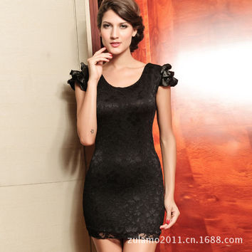 Backless Butterfly Lace Elastic One Piece Dress
