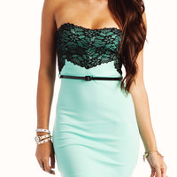 lace-tube-dress KHAKI NEONPINK SEAFOAM - GoJane.com