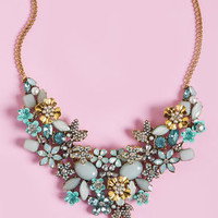 The Flowers that Be Statement Necklace in Mint