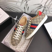 Gucci Old Skool Women Fashion Embroidery Bee Sneakers Sport Shoes beige