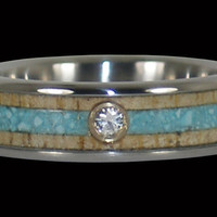 Titanium Turquoise and Mango Diamond Ring – Hawaii Titanium Rings