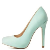 Round Toe Mini-Platform Pumps by Charlotte Russe - Mint