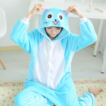 2016 Winter Flannel Habib cat Woman Homewear Pajamas Soft Cartoon Costume Kigurumi Onesuits Pajamas Combinaison