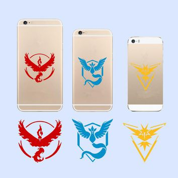 DIY pokemon go team wall stickers popular game pocket monster Valor Mystic Instinct decals phone cups Computer decor