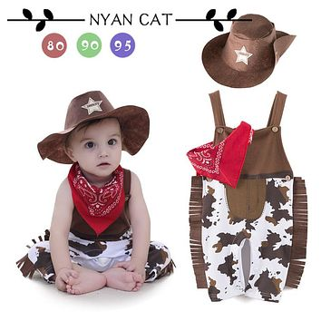 Nyan Cat Baby boy romper costume infant toddler cowboy clothing set 3pcs hat+scarf+romper halloween purim event birthday outfits