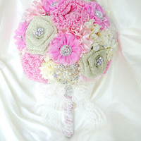Bridal Burlap Brooch Bouquet Satin and Lace Ivory, Pink and Champagne Rustic Country Shabby Chic Vintage In Stock