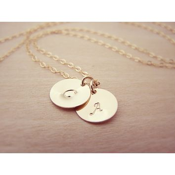 Hand Stamped Initial Disc 14k Gold Filled Personalized Monogram Necklace - Custom Jewelry For Her