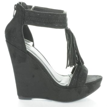 Madison115 Black By Wild Diva, Tassel T Strap Platform High Wedge Heels