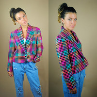Vintage 1980s 90s pink plaid houndstooth silk cropped oversized blazer jacket