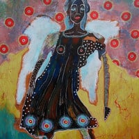 Outsider Art - Colorful Art - Colorful Angel - Black Angel - Figurative Art - Funky Angel Painting - Contemporary Angel - Mixed Media Angel