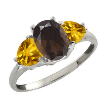 2.02 Ct Oval Brown Smoky Quartz and Citrine 925 Silver Ring