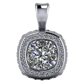 Cushion Moissanite Bezel Diamond Halo Pendant