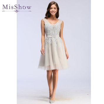 Vestidos De Festa 2017 fairy prom dress sexy Pink prom dresses Short Backless Lace Tulle A-Line Party Special Occasion Dress