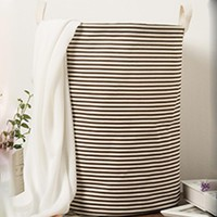 Brown Stripe Foldable Cloth Laundry Hamper Toy Storage Basket