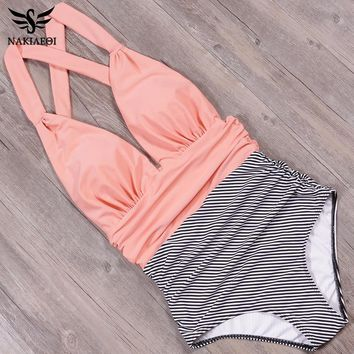 Two Tone One Piece Swimsuit - High Waisted (S - XXL available)