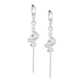 Sterling Silver Spiral Cz Dangle Hoop Earrings