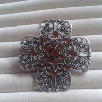 Closing sale - brown crystal clover  hollow filigree brooch pin