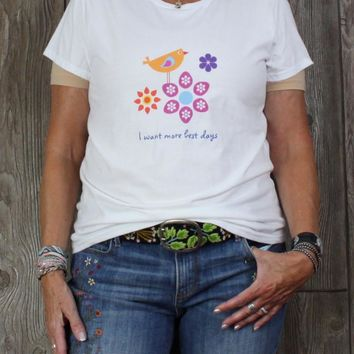 Cute New L size White Bird Floral Tee Shirt Anvil Lightweight Womens Casual Soft Top