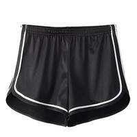 Black Holographic Contrast Trims Sports Shorts