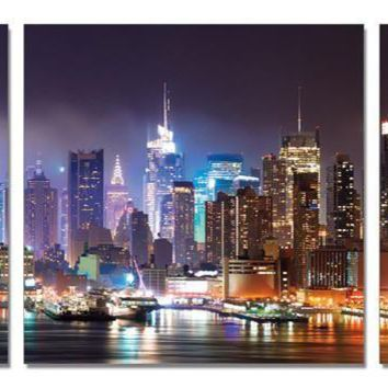 "City Lights 28"" x 28"" each piece acrylic color triptych painting"