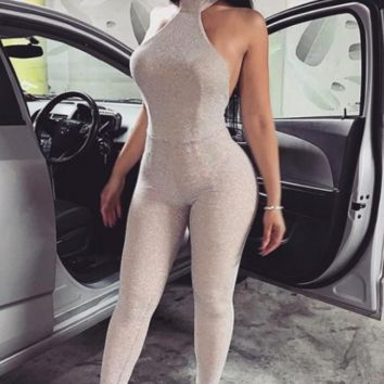 Hot new style stitching sexy halter hanging neck jumpsuit female summer explosions jumpsuit