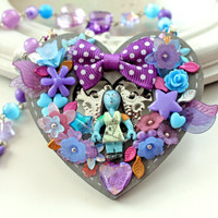 Halloween necklace Sally zombie girl purple blue colorful kawaii fairy kei