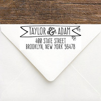 Custom Wedding Address Stamp - Couples Return Address Stamp - Custom Rubber Wedding Stamp Bride & Groom - Rustic Couples Engagement Gift
