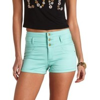 Refuge Colored High-Waisted Shorts by Charlotte Russe - Mint