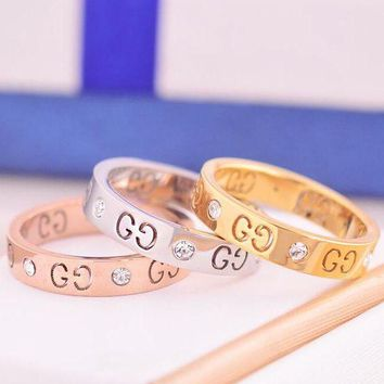 DCCKJ1A GUCCI Stylish Logo Hollow Geometric Pattern Diamond Ring Titanium Steel Tail Ring Joint Ring