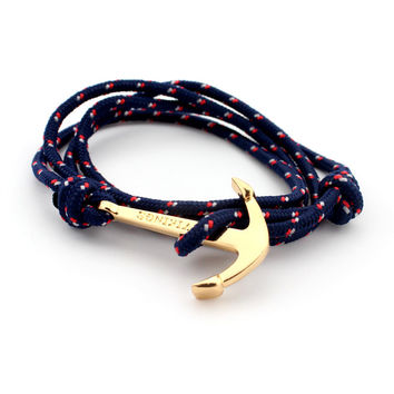 Fashion Jewelry 40cm Leather Bracelet for Men and Women with gold plated Anchor