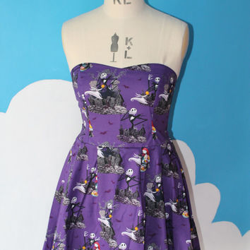 purple nightmare before christmas sweet heart dress - all sizes