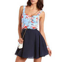 Belted 2-Fer Skater Dress: Charlotte Russe