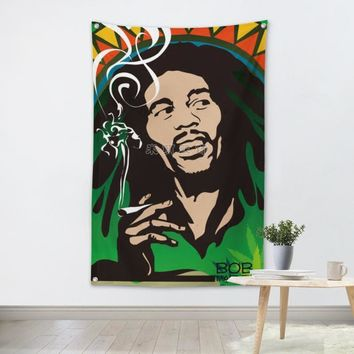 Cartoon Bob Marley Smoking - CannaFlags