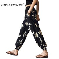 CHRLEISURE S-L Women Beach Boho Pants Summer Large Size Bohemia Bloomers Black Pant Casual Flower Printed Loose Trousers Women
