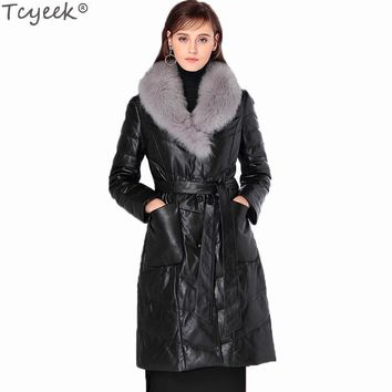 Tcyeek Genuine Leather Women's Jacket 2017 European Luxury Fox Fur Collar Plus Size 4XL Warm Long Real Leather Overcoat LX1280