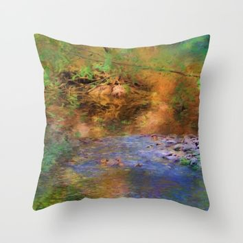 Fantasy Lake Stream Throw Pillow by Theresa Campbell D'August Art