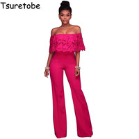 Tsureobe New Sexy Lace Ruffles Jumpsuit Women Strapless Off Shoulder Overalls Plus Size Wide Leg Elegant Jumpsuit Female Rompers