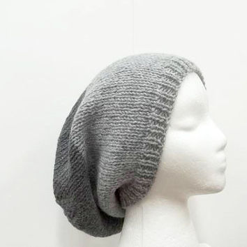 Knitted slouchy beanie light and dark gray   5089