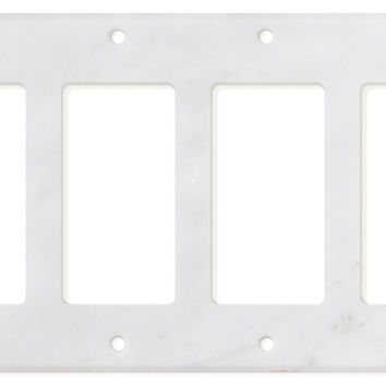 Italian Carrara White Marble Quadruple Rocker Switch Wall Plate / Switch Plate / Cover - Honed
