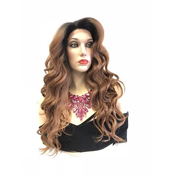 Brown Auburn Ombre Balayage' Swiss Lace Front Wig | 4x4 Multi Parting Volume Curl Layered Hair | Fiona