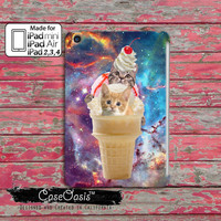Two Cats In An Ice Cream Cone Flying Through A Space Galaxy Funny Tumblr Inspired Cute Custom iPad Mini, iPad 2/3/4 and iPad Air Case Cover