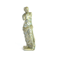 Venus De Milo Statue Figurine - Hand Painted Glazed Mint Green & Caramel Gold Over Ceramic - Vintage Home Decor