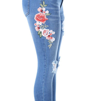 Salt Tree Women's Machine Jean Floral Embroidered Skinny Jeans, US Seller